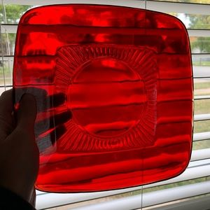 Vintage Ruby Red Square Glass Plate